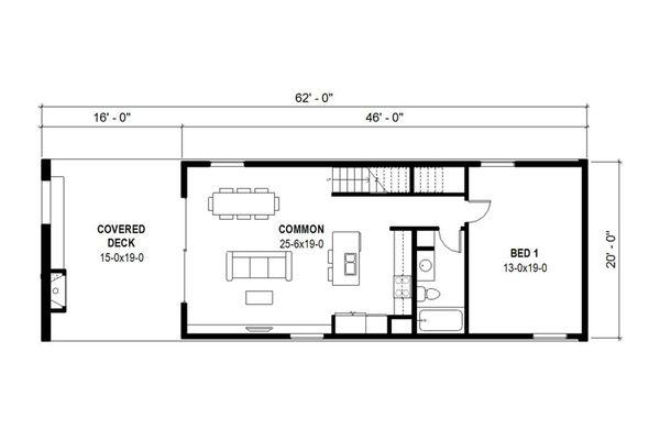 Modern Floor Plan - Main Floor Plan Plan #497-36