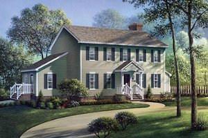 Colonial Exterior - Front Elevation Plan #57-203