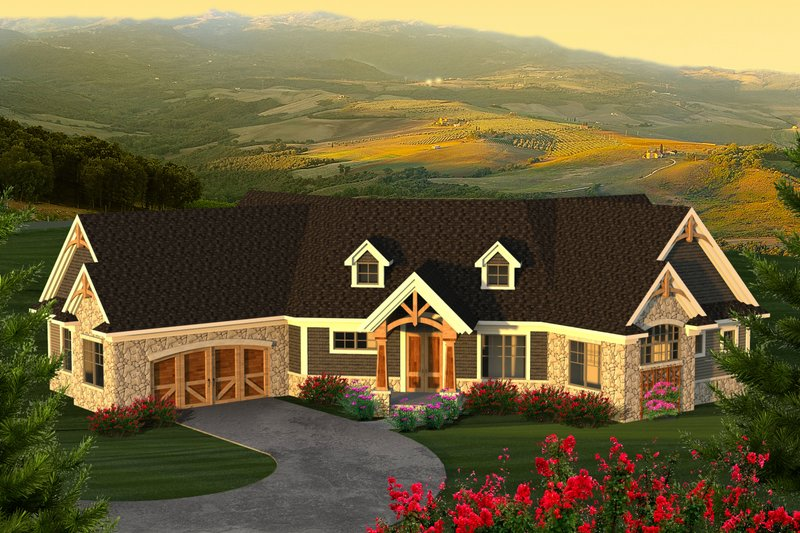 Country Exterior - Front Elevation Plan #70-1225