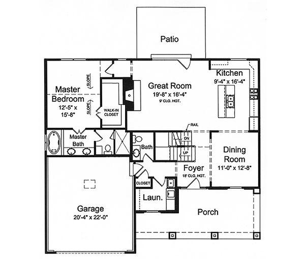 Craftsman Floor Plan - Main Floor Plan Plan #46-494