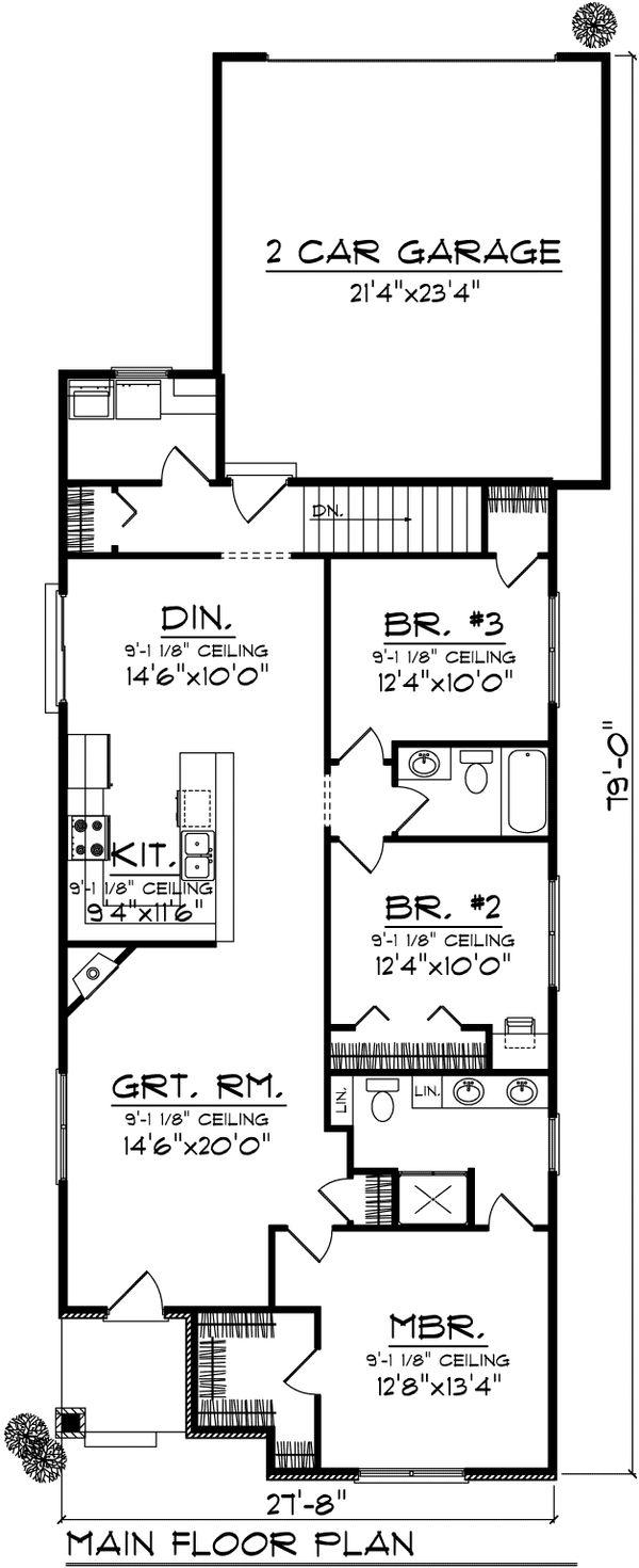 Ranch Floor Plan - Main Floor Plan Plan #70-1024