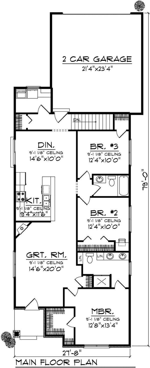 Ranch Floor Plan - Main Floor Plan Plan #70-1024