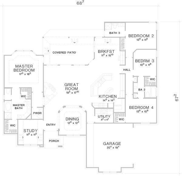 Country Floor Plan - Main Floor Plan Plan #472-438
