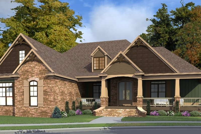 Craftsman Style House Plan - 3 Beds 2 Baths 3445 Sq/Ft Plan #63-423 Exterior - Front Elevation