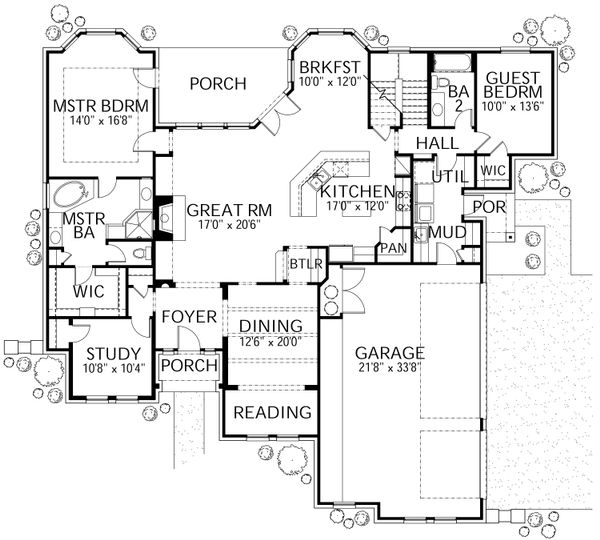 Traditional Floor Plan - Main Floor Plan Plan #80-210