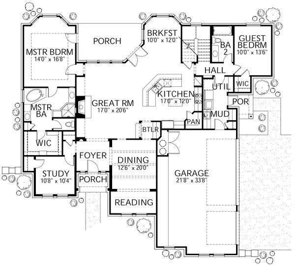 Home Plan - Traditional Floor Plan - Main Floor Plan #80-210