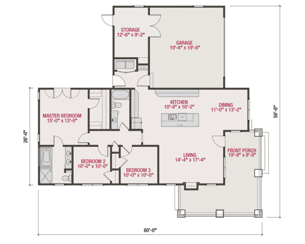 Craftsman Floor Plan - Main Floor Plan Plan #461-54