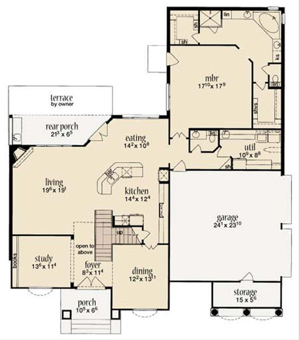 Mediterranean Floor Plan - Main Floor Plan Plan #36-469