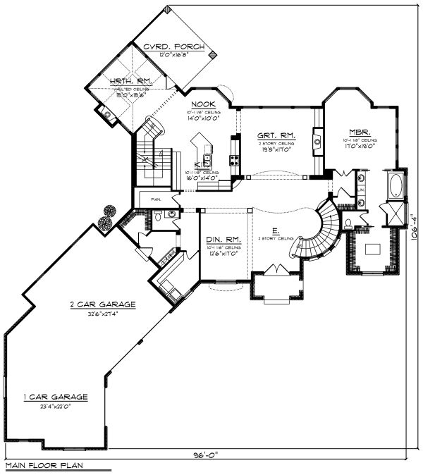 European Floor Plan - Main Floor Plan Plan #70-1294