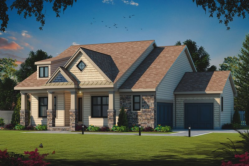 Ranch Style House Plan - 3 Beds 2 Baths 1759 Sq/Ft Plan #20-2302 Exterior - Front Elevation