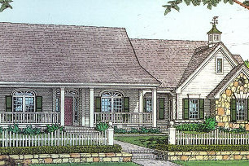 Country Style House Plan - 3 Beds 2 Baths 1658 Sq/Ft Plan #310-604 Exterior - Front Elevation