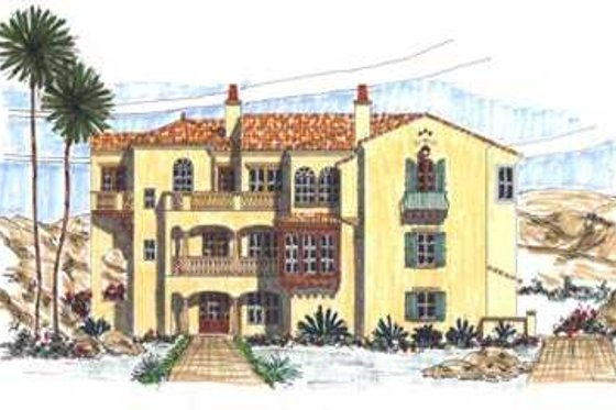 Mediterranean Exterior - Front Elevation Plan #76-116