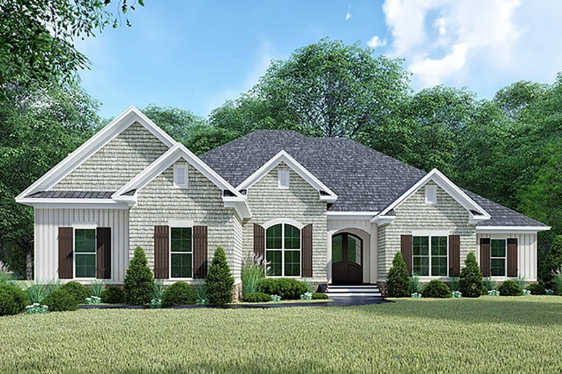 Craftsman Style House Plan - 4 Beds 3.5 Baths 2663 Sq/Ft Plan #923-144 Exterior - Front Elevation