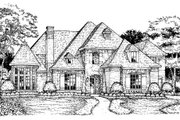 European Style House Plan - 4 Beds 3.5 Baths 4468 Sq/Ft Plan #141-309 Exterior - Front Elevation
