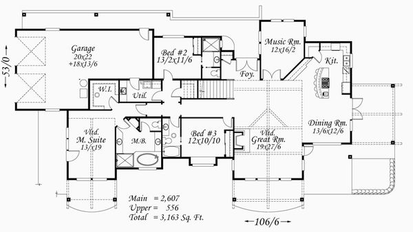 Country Style House Plan - 3 Beds 3 Baths 3163 Sq/Ft Plan #509-51 Floor Plan - Main Floor Plan