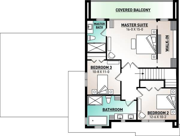 Contemporary Floor Plan - Upper Floor Plan Plan #23-2645