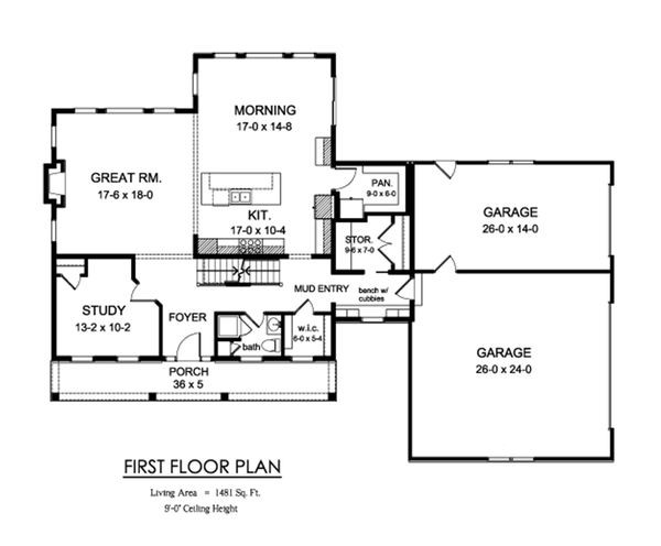 Farmhouse Floor Plan - Main Floor Plan Plan #1010-248