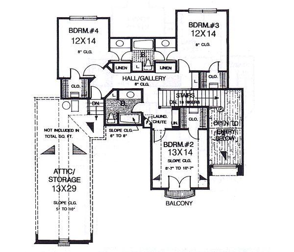 European Floor Plan - Upper Floor Plan #310-937