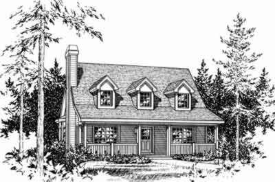 Cottage Style House Plan - 1 Beds 2 Baths 1483 Sq/Ft Plan #22-458 Exterior - Front Elevation