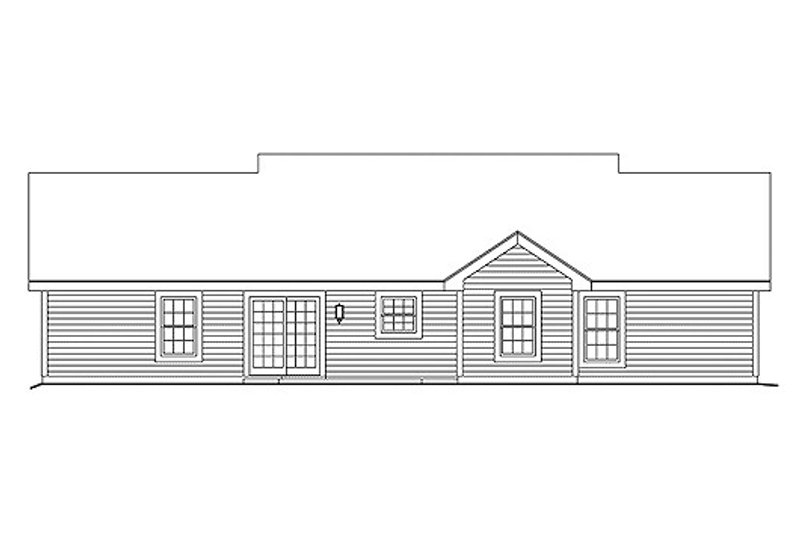 Ranch Exterior - Rear Elevation Plan #57-331 - Houseplans.com