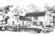 Colonial Style House Plan - 4 Beds 3.5 Baths 3465 Sq/Ft Plan #72-369 Exterior - Rear Elevation