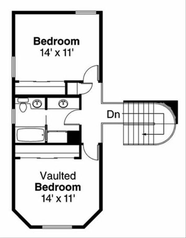 Traditional Floor Plan - Upper Floor Plan Plan #124-103