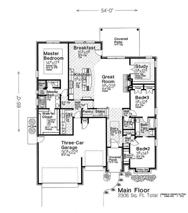 Dream House Plan - European Floor Plan - Main Floor Plan #310-1283