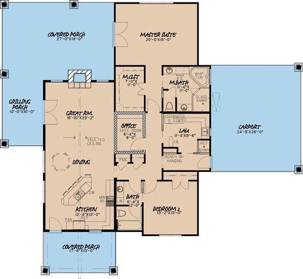 House Plan Design - Craftsman Floor Plan - Main Floor Plan #923-4