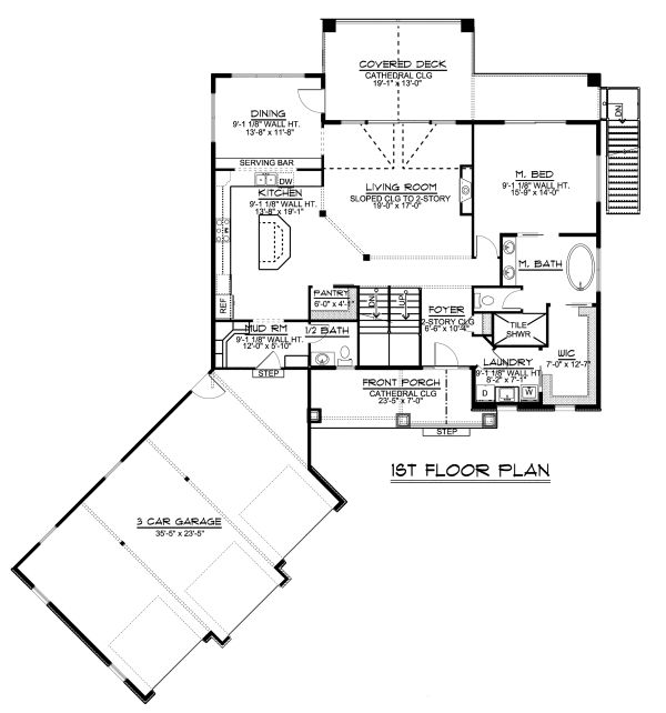 Craftsman Floor Plan - Main Floor Plan Plan #1064-17