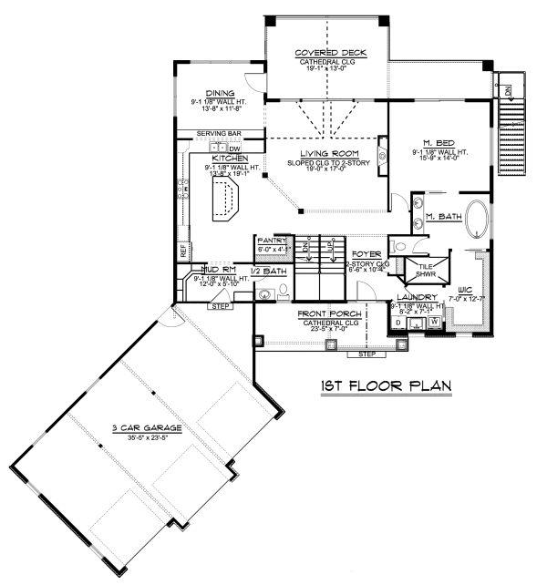 Dream House Plan - Craftsman Floor Plan - Main Floor Plan #1064-17