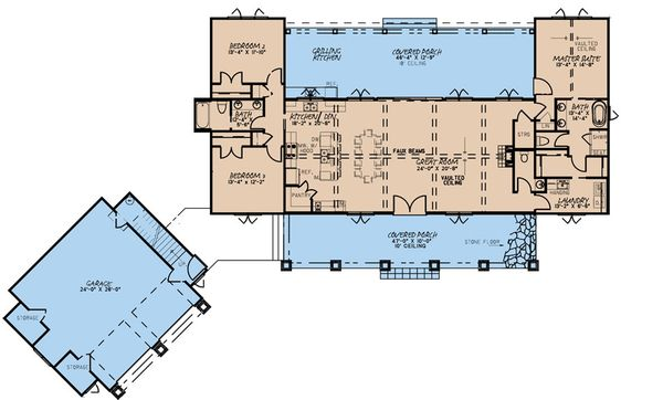 Dream House Plan - Farmhouse Floor Plan - Main Floor Plan #923-170