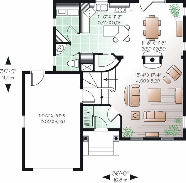 Colonial Floor Plan - Main Floor Plan Plan #23-839