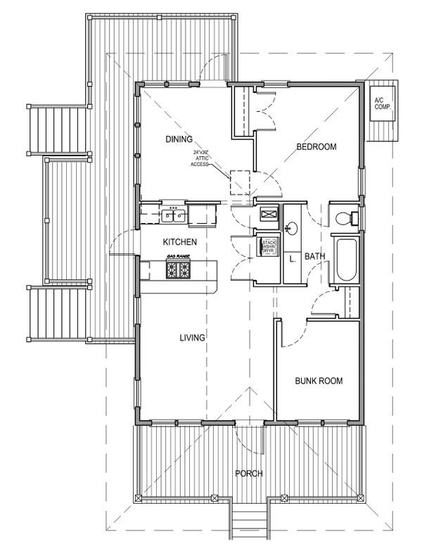 House Plan Design - Beach Floor Plan - Main Floor Plan #536-2