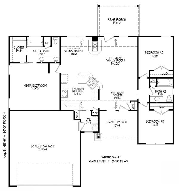 Craftsman Floor Plan - Upper Floor Plan Plan #932-171