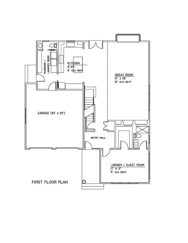 Country Style House Plan - 3 Beds 3.5 Baths 2700 Sq/Ft Plan #481-6 Floor Plan - Main Floor Plan