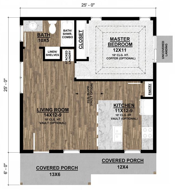 Ranch Floor Plan - Main Floor Plan Plan #1077-6