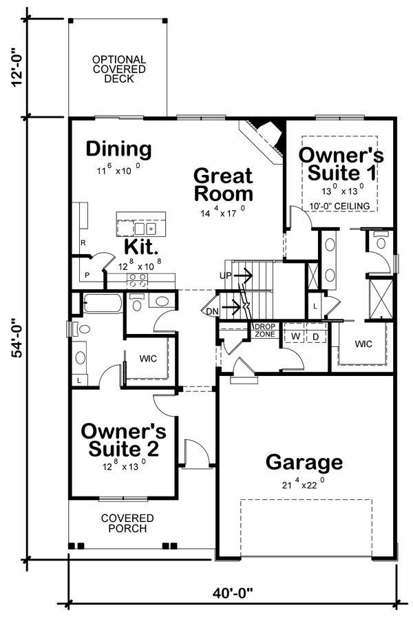 Craftsman Floor Plan - Main Floor Plan #20-2398