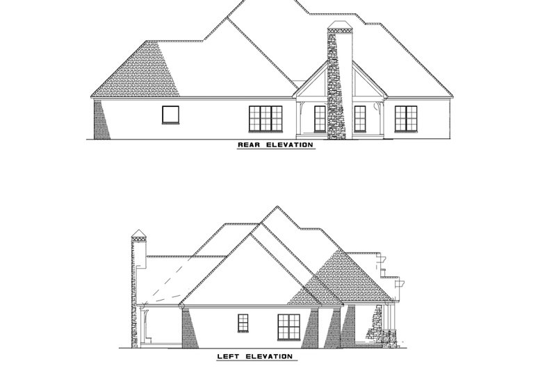 European Exterior - Rear Elevation Plan #17-2496 - Houseplans.com