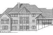 European Style House Plan - 4 Beds 4.5 Baths 3600 Sq/Ft Plan #70-532 Exterior - Rear Elevation