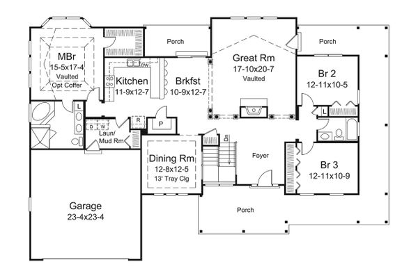 Dream House Plan - Craftsman Floor Plan - Main Floor Plan #57-648