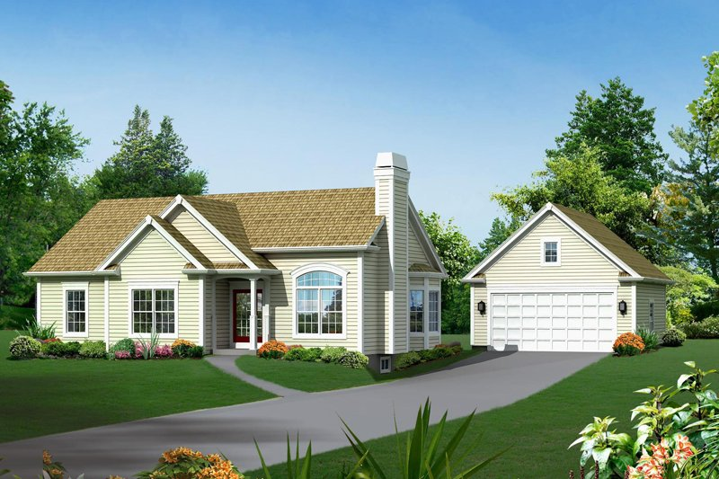 Architectural House Design - Ranch Exterior - Front Elevation Plan #57-609
