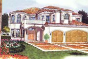 Mediterranean Style House Plan - 6 Beds 5.5 Baths 4699 Sq/Ft Plan #420-156 Exterior - Front Elevation