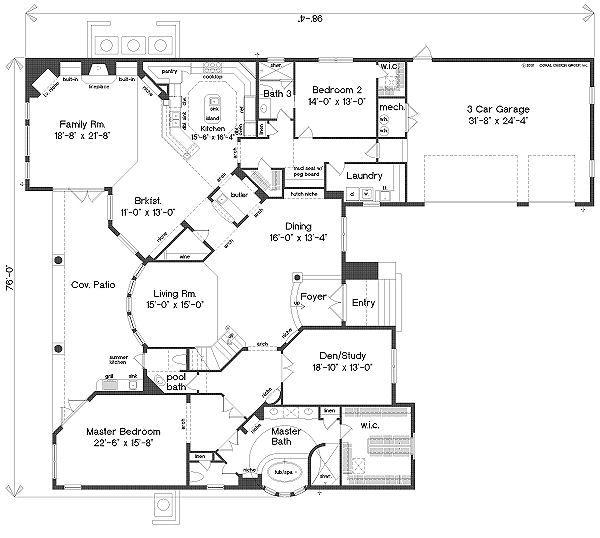 European Floor Plan - Main Floor Plan Plan #135-148