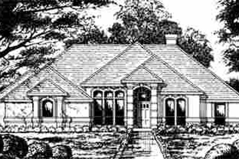 European Exterior - Front Elevation Plan #40-178