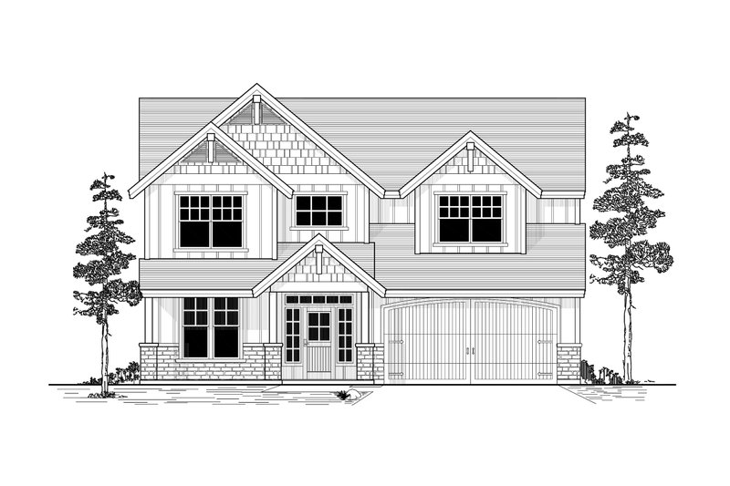 Craftsman Style House Plan - 4 Beds 3 Baths 2418 Sq/Ft Plan #53-487 Exterior - Front Elevation
