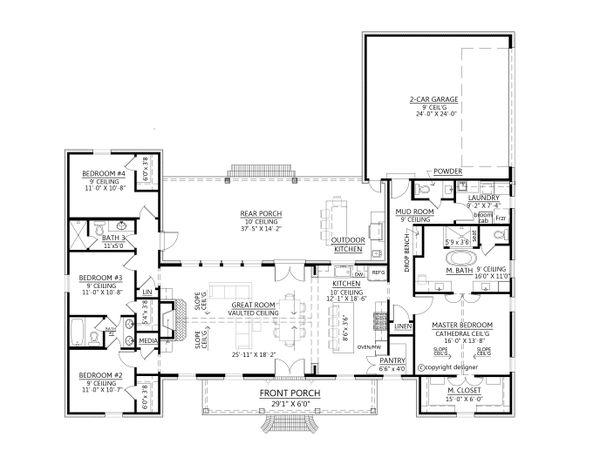 Southern Floor Plan - Main Floor Plan #1074-33