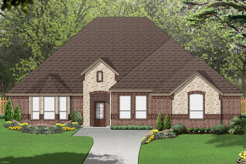 European Style House Plan - 3 Beds 3 Baths 2437 Sq/Ft Plan #84-581 Exterior - Front Elevation