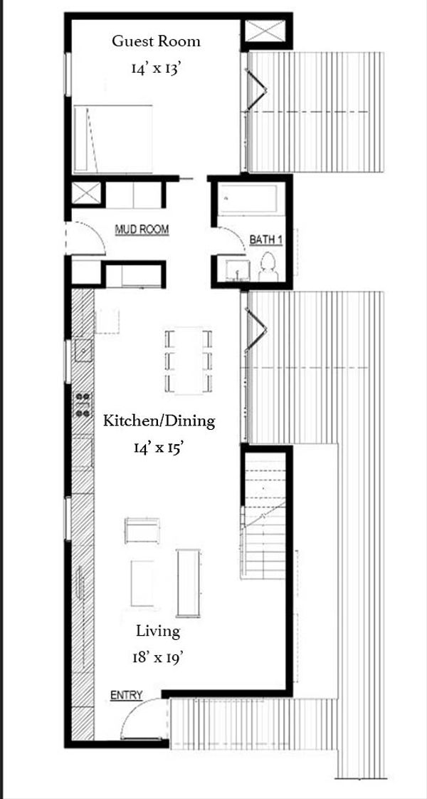 Modern Floor Plan - Main Floor Plan Plan #497-53