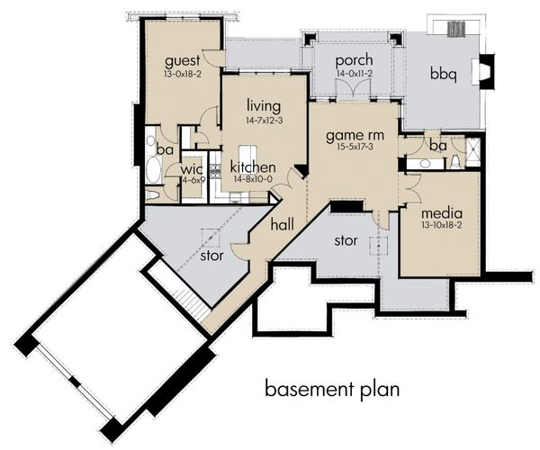 Craftsman Floor Plan - Lower Floor Plan #120-175