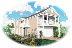 Southern Exterior - Front Elevation Plan #81-140